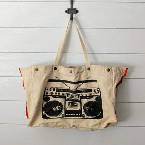 Madden Girl Boombox Canvas Tote Bag